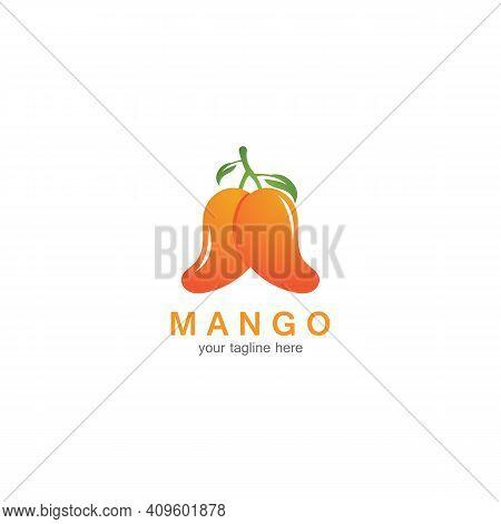Mango Fruit Logo Vector Illustration Design Template. Mango In Flat Style. Mango Icon. Mango And Hea