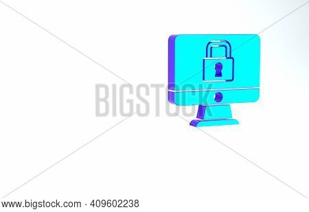 Turquoise Lock On Computer Monitor Screen Icon Isolated On White Background. Security, Safety, Prote