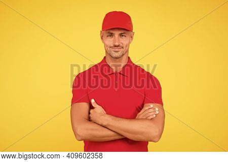 Cool And Confident. Confident Man Keep Arms Crossed Yellow Background. Confident Look Of Fashion Mod