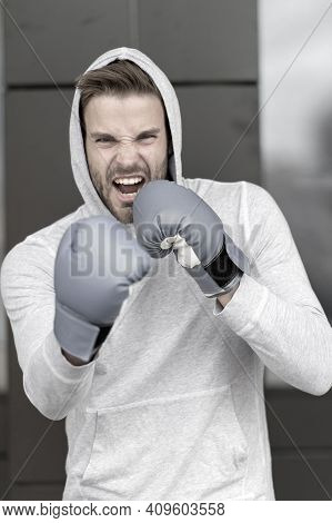 Boxing Concept. Energetic Sportsman In Boxing Gloves. Man Boxer Ready For Boxing. Nothing Like Boxin