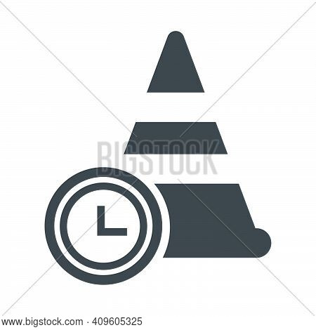 Training Cone Time Illlustration Design. Training Cone Time Icon Isolated On White Background. Ready