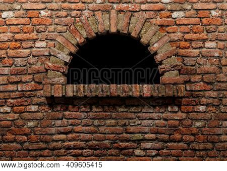 Traditional Red Brick Firewood Pizza Oven, Without Fire And Isolated. Copy Space For Banner And Broc