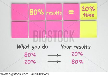 Flat Lay Composition With Sticky Notes On White Background. Pareto Principle Concept