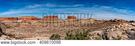Red Rock Bluffs Around Moab Utah On A October Day