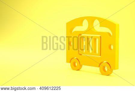 Yellow Circus Wagon Icon Isolated On Yellow Background. Circus Trailer, Wagon Wheel. Minimalism Conc