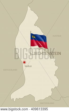 Silhouette Of Liechtenstein Country Map. Highly Detailed Editable Liechtenstein Map Country Territor