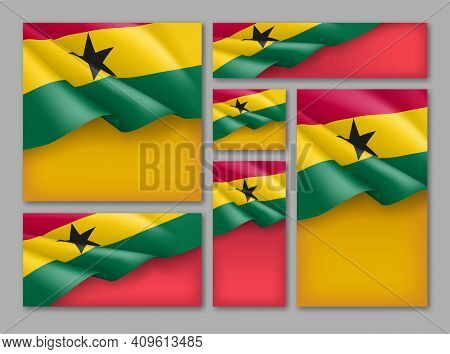 Ghana National Banners Collection. National Holiday, Festival Celebration Background, Card, Poster,