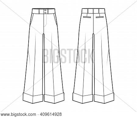 Pants Oxford Tailored Technical Fashion Illustration With Low Waist, Rise, Full Length, Slant Slashe