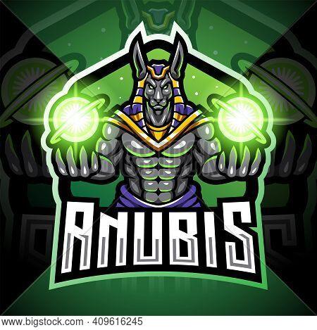 Anubis Esport Mascot Logo Design With Text