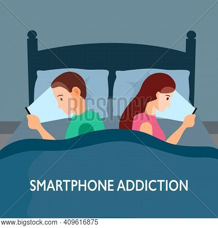 Smartphone Addiction Concept Vector Illustration. Man And Woman Using Internet On Mobile Phone At Be