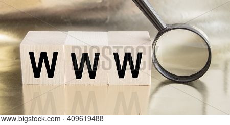 Www Website Url Of Three Words On Wooden Cube Block, Minimal Background Concept For Internet Connect