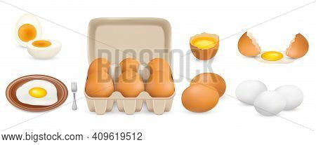 Raw, Hard Boiled, Fried Chicken Eggs, Vector Isolated Illustration. Whole Broken, White Yellow Raw E