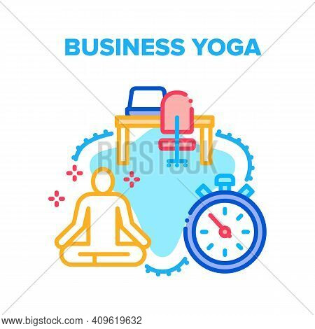 Business Yoga Vector Icon Concept. Business Yoga Relaxation Exercise At Workplace, Employee Meditati