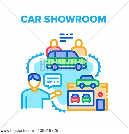 Car Showroom Vector Icon Concept. Car Showroom Dealer Selling And Customer Buying Automobile Product