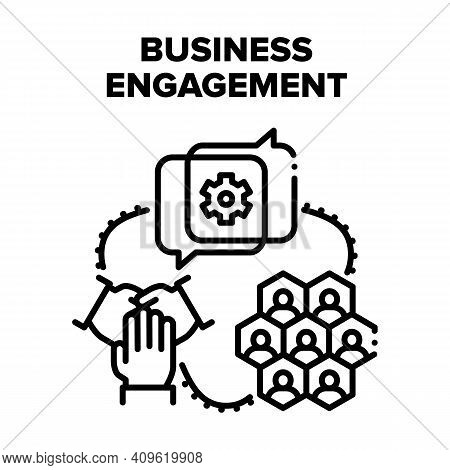 Business Engagement Project Vector Icon Concept. Business Engagement In Video Call Conference With P