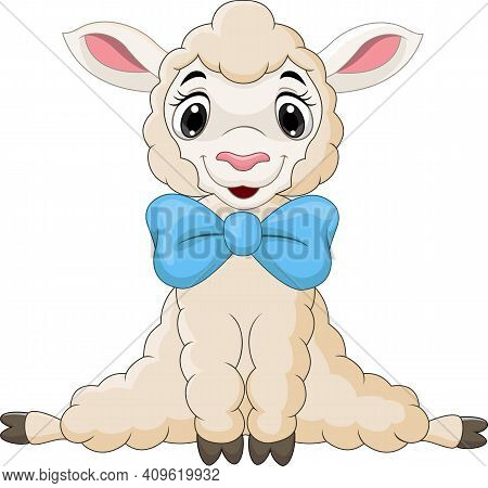 Cartoon Baby Lamb Sitting With Blue Bow