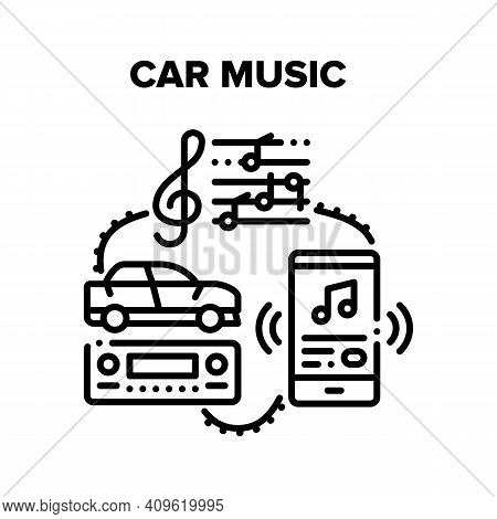 Car Music Device Vector Icon Concept. Car Music Technology For Listening Songs And Radio, Phone Appl
