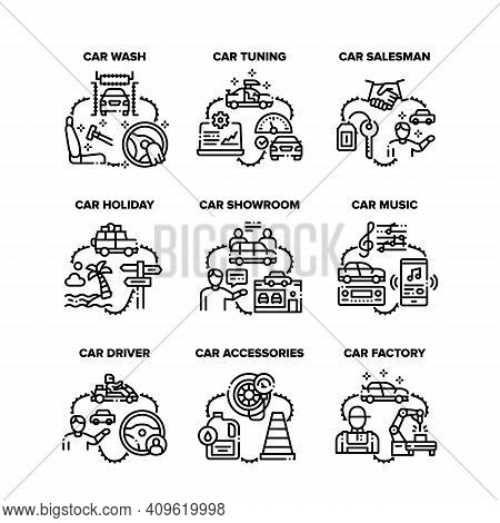 Car Accessories Set Icons Vector Illustrations. Car Tuning And Factory, Salesman In Showroom And Hol
