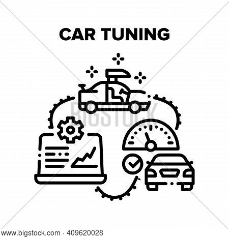 Car Tuning Garage Service Vector Icon Concept. Body And Engine Car Tuning, Diagnostic And Testing Sp