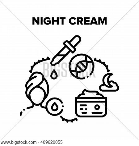 Night Cream Vector Icon Concept. Moisturizing Facial Night Cream And For Hands, Package With Cosmeti