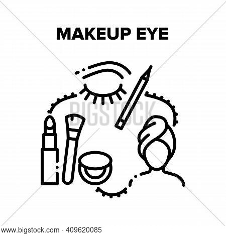 Makeup Eye And Brow Beauty Vector Icon Concept. Makeup Eye With Cosmetics, Eyeliner And Powder For F