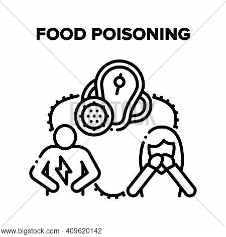 Food Poisoning Vector Icon Concept. Woman Nausea And Holding Hands On Mouth, Man Having Bad Aches Pa
