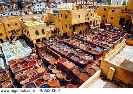 Fez, Morocco - May 31, 2017: The Tannery In Fez. The Tanning Industry In The City Is Considered One