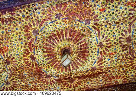 Fez, Morocco - June 02, 2017: Wooden Ceiling In The Dar Batha. The Former Royal Palace, Was Built By