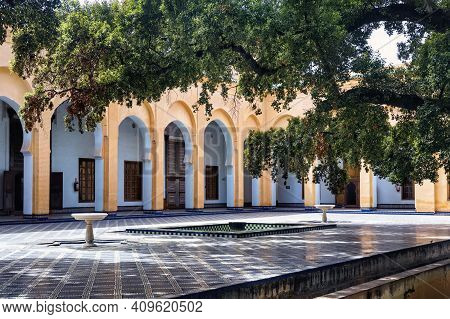 Fez, Morocco - June 02, 2017: The Courtyard Of The Dar Batha. The Former Royal Palace, Was Built By