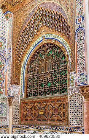 Fez, Morocco - June 02, 2017: South Wall Of The Mausoleum Of Moulay Idris Ii, Who Ruled Morocco In I