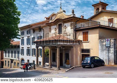 Bergamo, Italy - May 22, 2019: Facade Of The Roman Catholic Church Chiesa Della Beata Vergine Del Gi