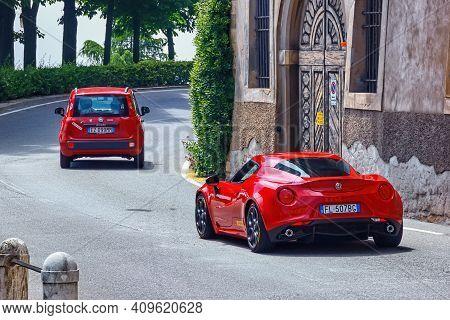 Bergamo, Italy - May 22, 2019: Alfa Romeo 4c Car On The Road. The Alfa Romeo Mito Is A Front-wheel D