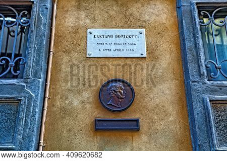 Bergamo, Italy - May 22, 2019: Portrait Of The Gaetano Donizetti On The Building Wall. He Was An Ita