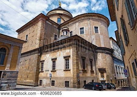 Bergamo, Italy - May 22, 2019: Back Facade Of The Bergamo Cathedral (cattedrale Di Sant'alessandro).