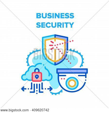 Business Security Technology Vector Icon Concept. Cctv Video Camera And Protection Data Center Infor