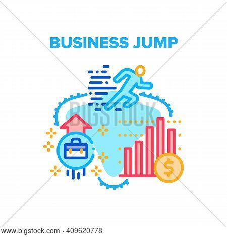 Business Jump Vector Icon Concept. Business Jump In Career And Manager Profit, Company Growth Financ