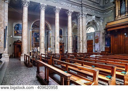 Bergamo, Italy - May 22, 2019: Interior Of The Neoclassic Sant'andrea Church In Bergamo. The Church
