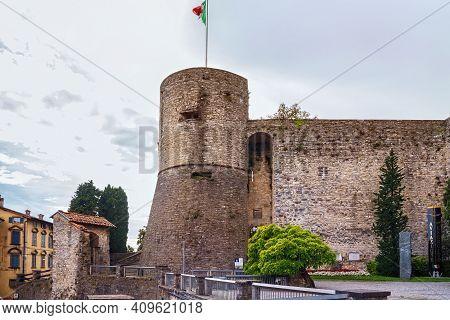 Bergamo, Italy - May 22, 2019: View Of The Fortress Of Bergamo (rocca Di Bergamo). Construction 1331