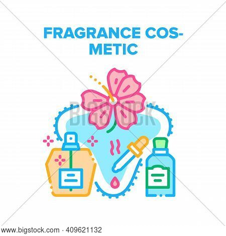 Fragrance Cosmetic Perfume Vector Icon Concept. Fragrance Cosmetic Bottle Spray And Flavor Essential