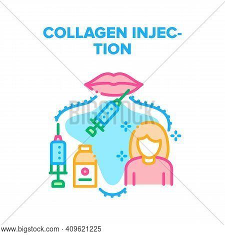 Collagen Injection For Beauty Vector Icon Concept. Syringe And Vaccine Bottle For Receiving Hyaluron
