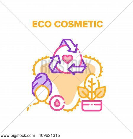 Eco Cosmetic Vector Icon Concept. Natural Eco Cosmetic For Skin And Body Care, Bio Cream For Facial