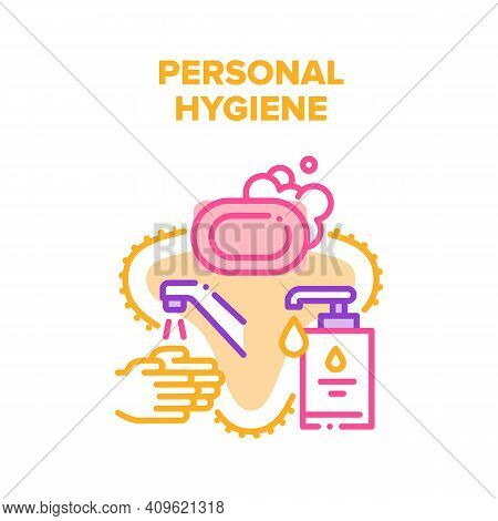 Personal Hygiene Vector Icon Concept. Washing Hands With Soap And Liquid Sanitizer Bottle With Pump