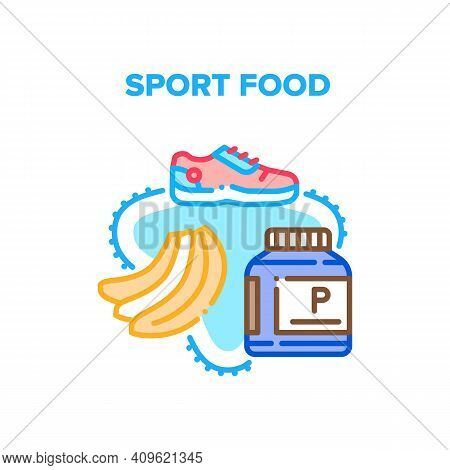 Sport Food Dish Vector Icon Concept. Banana And Supplement Bottle, Sport Food And Sportive Shoes For