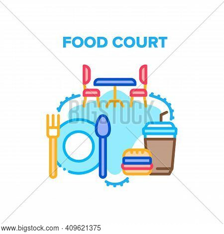 Food Court Cafe Vector Icon Concept. Food Court Table With Chairs For Eating Delicious Nutrition Bur