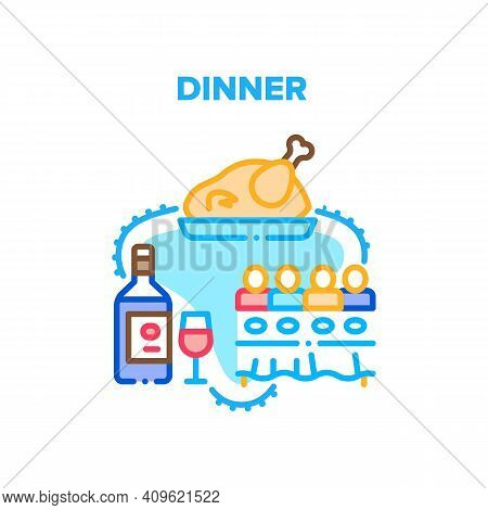 Dinner With Family At Table Vector Icon Concept. People Sitting At Desk Eating Fried Chicken, Turkey