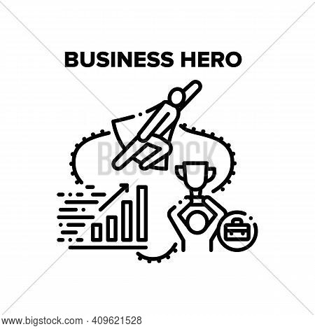 Business Hero Vector Icon Concept. Business Hero Man And Leader Holding Award Cup Won In Company Com