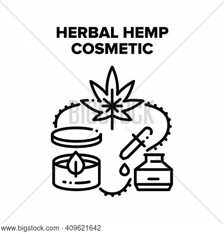 Herbal Hemp Cosmetic Therapy Vector Icon Concept. Herbal Hemp Cosmetic Organic Cream And Essential O