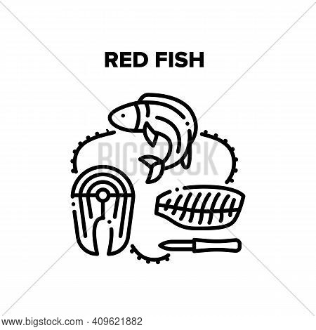 Red Fish Meat Vector Icon Concept. Red Fish Salmon Sliced With Knife Fillet And Steak Marine Meal. D