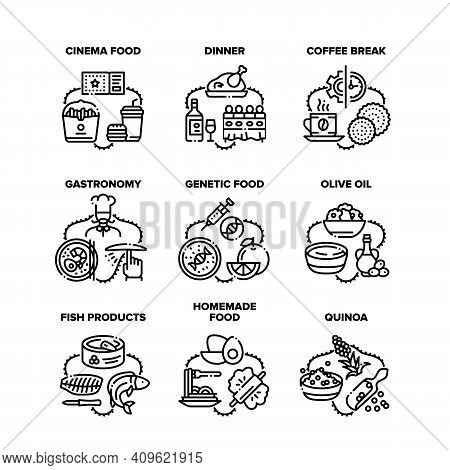 Food Delicious Set Icons Vector Illustrations. Cinema Meal , Homemade And Genetic Food, Dinner And C
