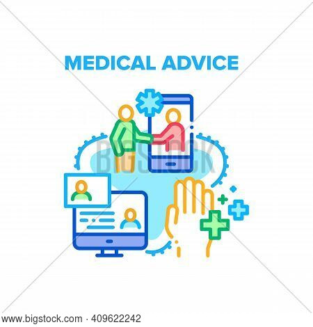 Medical Advice Vector Icon Concept. Medical Advice Examining And Consultation Patient Online, Expert
